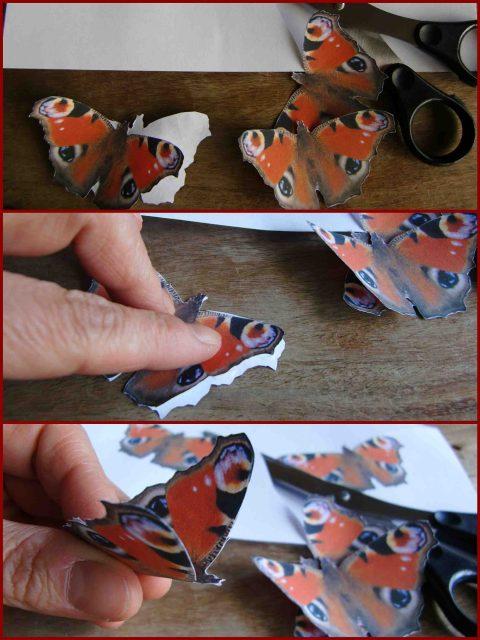 Schmetterlinge aus Papier basteln, Pfauenauge
