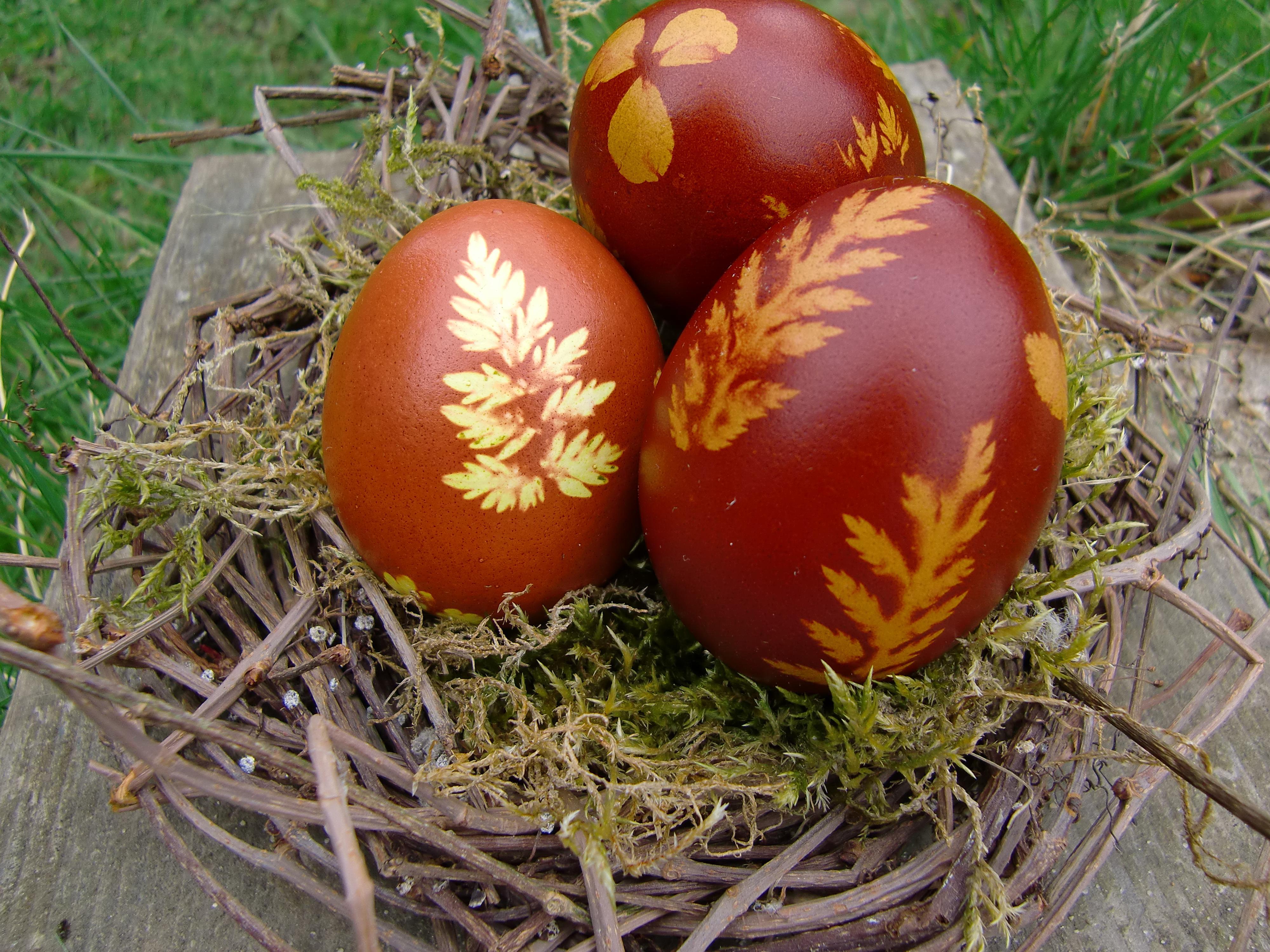 Ostereier natürlich dekoriert