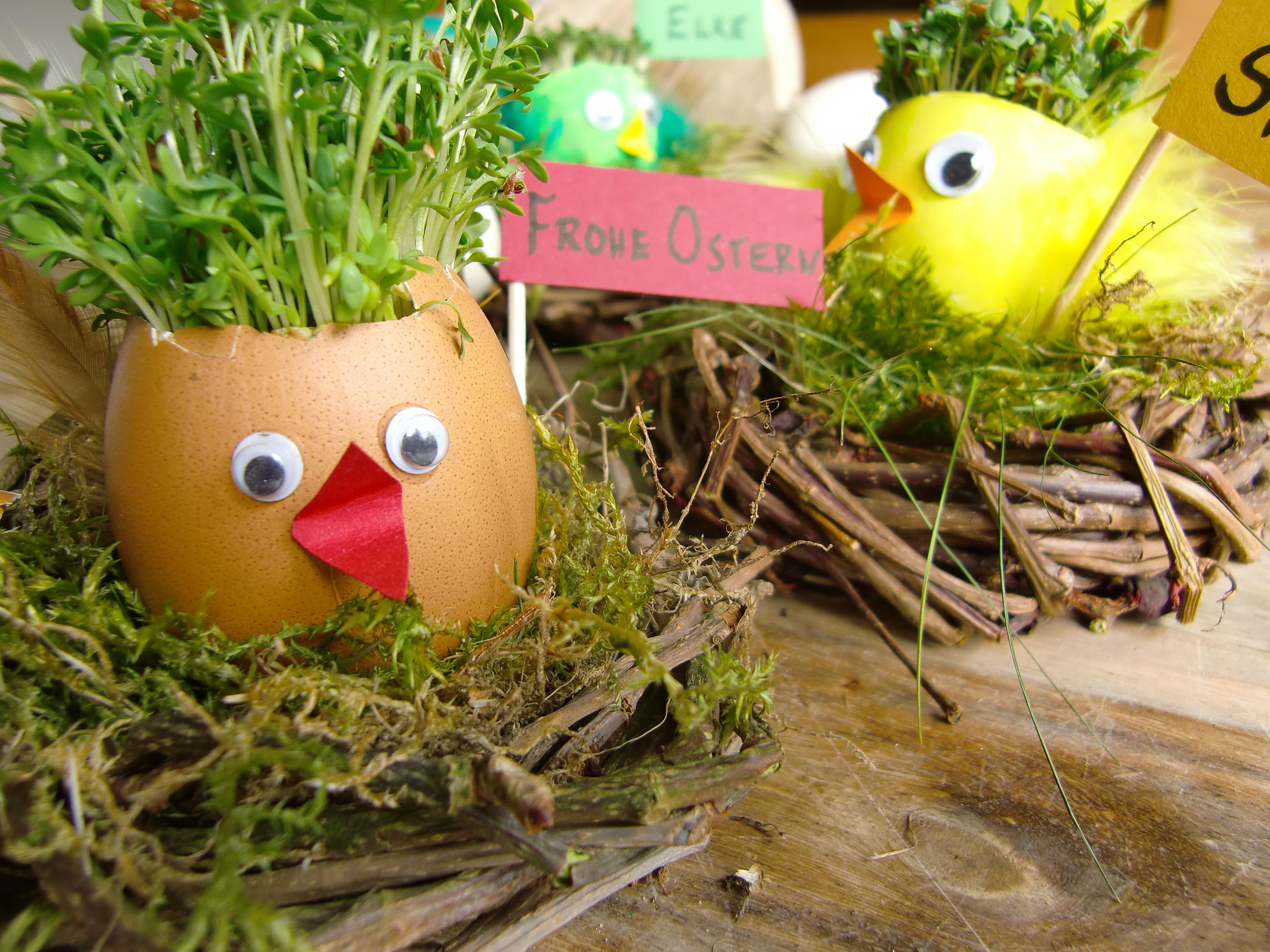Osterdeko, Naturmaterialien, Tischdeko für Ostern
