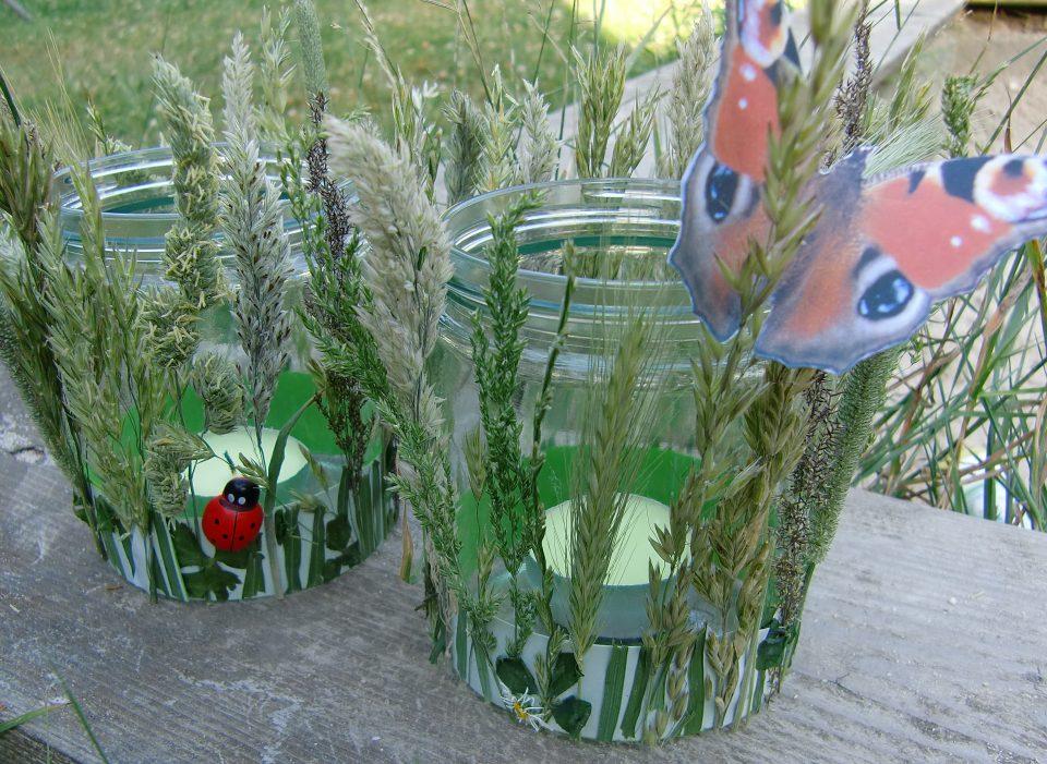 Basteln mit Naturmaterialien, Sommerwindlicht, Grasblüten