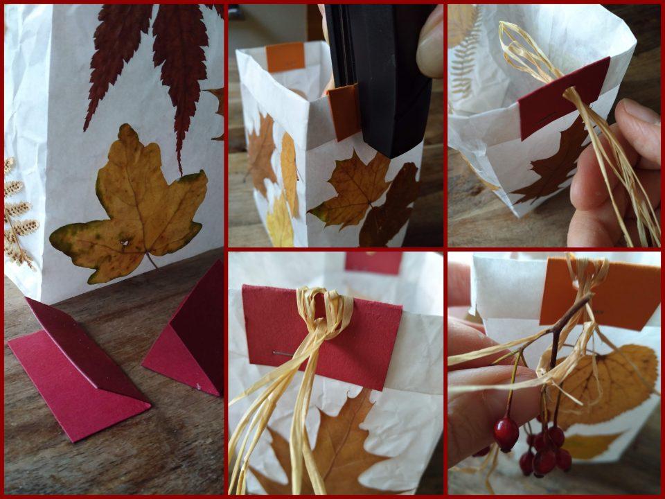 Feinschliff der Laterne mit Herbstblättern